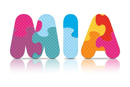 MIA written with alphabet puzzle  Ilustração