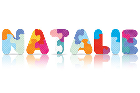 NATALIE written with alphabet puzzle  Vector