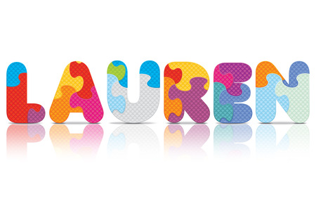 LAUREN written with alphabet puzzle - vector illustration Vector
