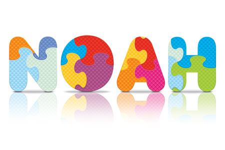 NOAH written with alphabet puzzle - vector illustration