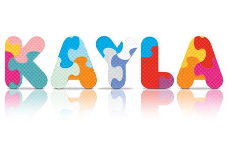 eva: KAYLA written with alphabet puzzle - vector illustration