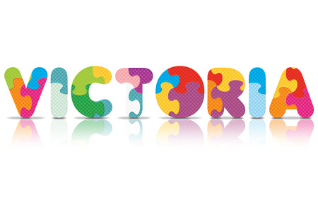VICTORIA written with alphabet puzzle - vector illustration Vector
