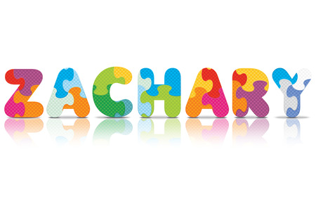 ZACHARY written with alphabet puzzle - vector illustration Vector