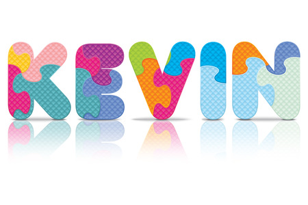 kevin: KEVIN written with alphabet puzzle - vector illustration Illustration