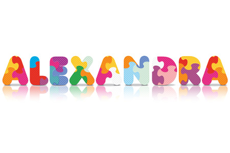 ALEXANDRA written with alphabet puzzle - vector illustration Vector