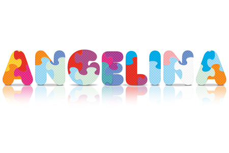 ANGELINA written with alphabet puzzle - vector illustration