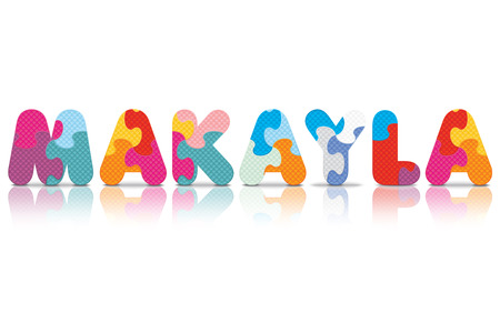 MAKAYLA written with alphabet puzzle - vector illustration Vector