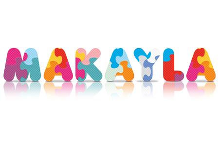eva: MAKAYLA written with alphabet puzzle - vector illustration