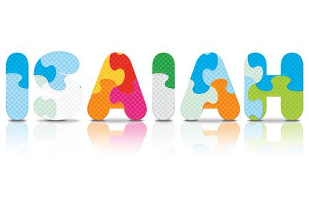 isaiah: ISAIAH written with alphabet puzzle - vector illustration