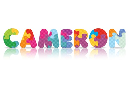 CAMERON written with alphabet puzzle - vector illustration Vector