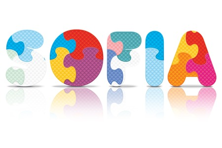 SOFIA written with alphabet puzzle - vector illustration Vector