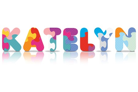 KATELYN written with alphabet puzzle - vector illustration Vector
