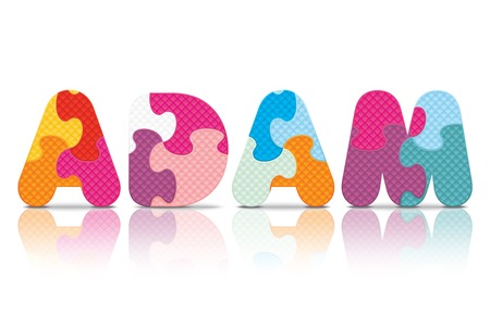 ADAM written with alphabet puzzle - vector illustration Vector