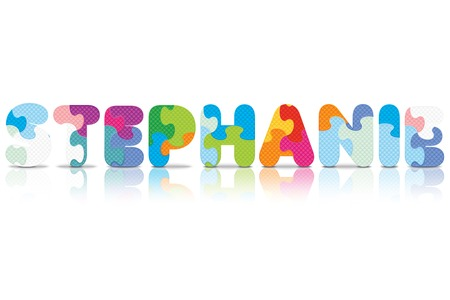 STEPHANIE written with alphabet puzzle - vector illustration Vector