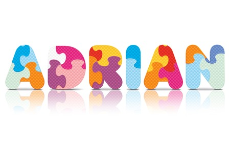 ADRIAN written with alphabet puzzle - vector illustration Vector