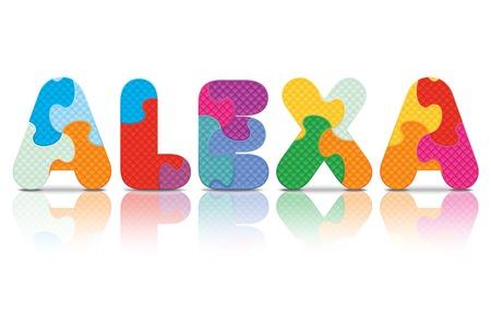 alexa: ALEXA written with alphabet puzzle - vector illustration