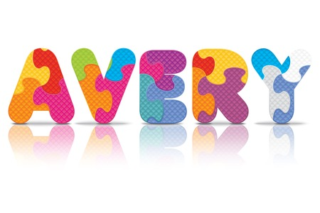 AVERY written with alphabet puzzle - vector illustration Vector