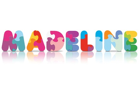 MADELINE written with alphabet puzzle - vector illustration Vector