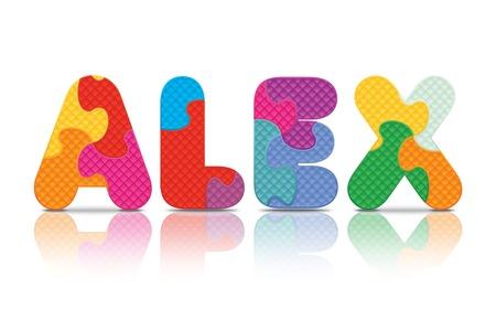 eva: ALEX written with alphabet puzzle - vector illustration