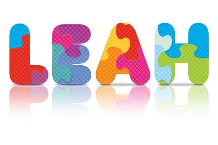 leah: LEAH written with alphabet puzzle - vector illustration Illustration