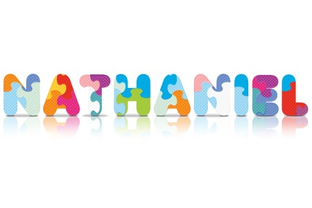NATHANIEL written with alphabet puzzle - vector illustration Vector