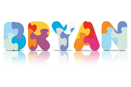 eva: BRYAN written with alphabet puzzle - vector illustration Illustration
