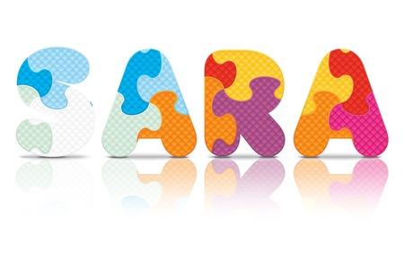 SARA written with alphabet puzzle - vector illustration Vector