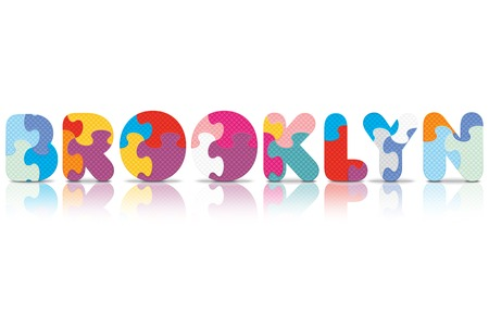 BROOKLYN written with alphabet puzzle - vector illustration Vector