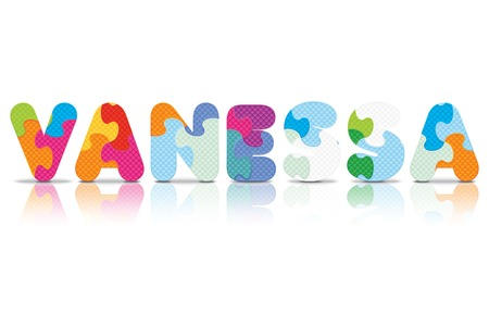 VANESSA written with alphabet puzzle - vector illustration Vector