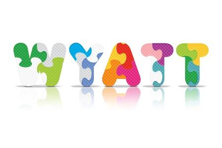 eva: WYATT written with alphabet puzzle - vector illustration Illustration