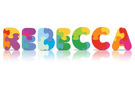 REBECCA written with alphabet puzzle - vector illustration Vector