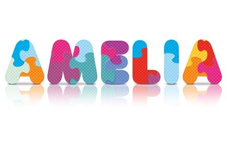 eva: AMELIA written with alphabet puzzle - vector illustration