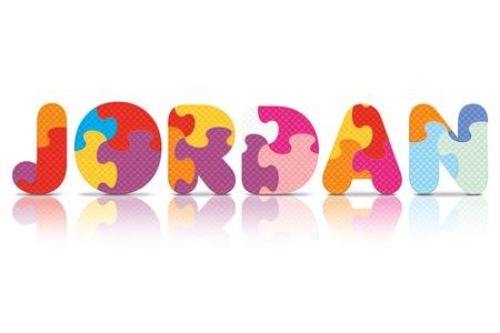 JORDAN written with alphabet puzzle - vector illustration Illustration