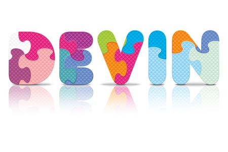 DEVIN written with alphabet puzzle - vector illustration Vector