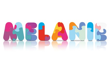 MELANIE written with alphabet puzzle - vector illustration Vector