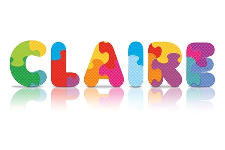 CLAIRE écrit avec l'alphabet puzzle - illustration vectorielle