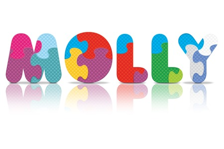 molly: MOLLY written with alphabet puzzle - vector illustration Illustration