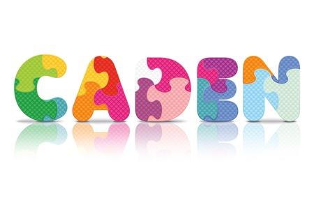 CADEN written with alphabet puzzle - vector illustration Vector