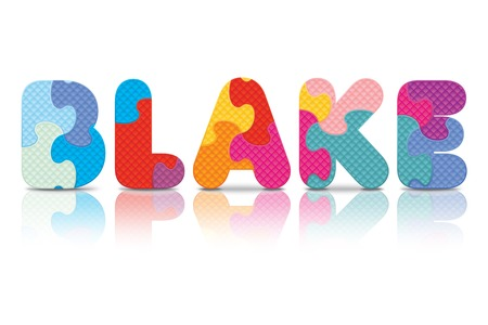 BLAKE written with alphabet puzzle - vector illustration Vector
