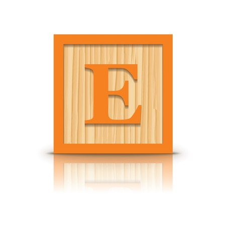 Letter E wooden alphabet block - vector illustration Vector