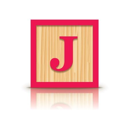 Letter J wooden alphabet block - vector illustration Vector