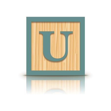 Letter U wooden alphabet block - vector illustration Vector