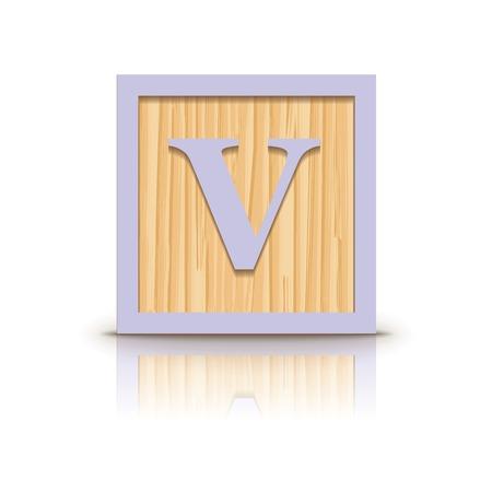 letter v: Letter V wooden alphabet block - vector illustration