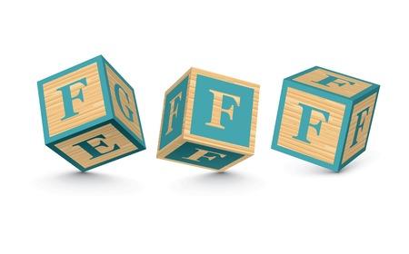Letter F wooden alphabet blocks - vector illustration Vector