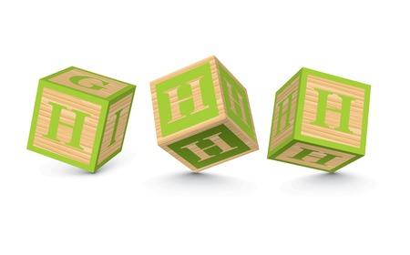letter blocks: Letter H wooden alphabet blocks - vector illustration Illustration