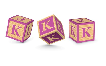 Letter K wooden alphabet blocks - vector illustration Vector