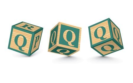 Letter Q wooden alphabet blocks - vector illustration Vector