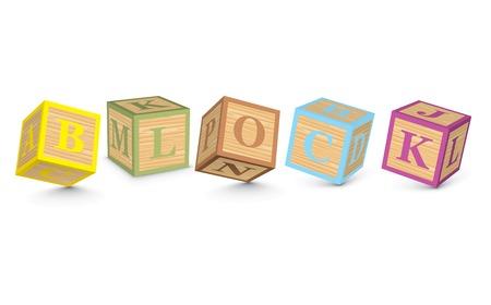 BLOCK written with alphabet blocks - vector illustration Vector