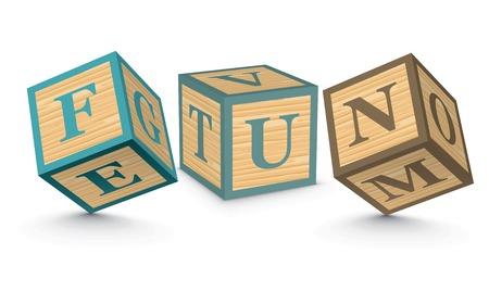 FUN written with alphabet blocks - vector illustration Vector