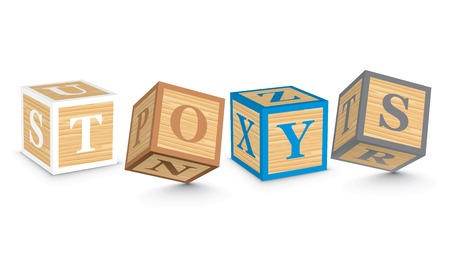 TOYS written with alphabet blocks - vector illustration Vector